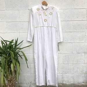 1980's Moon & Stars White Jumpsuit NWT